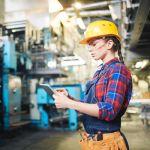 Arbeiterin, Tablet, Industrie, Halle, Produktion